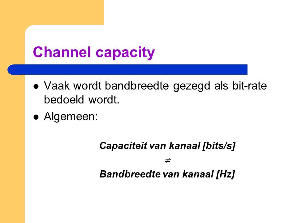 Capaciteit van kanaal [bits/s] Bandbreedte van kanaal [Hz]